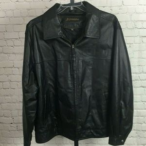 St. Johns Bay Men's Leather Jacket, Quilted Lining